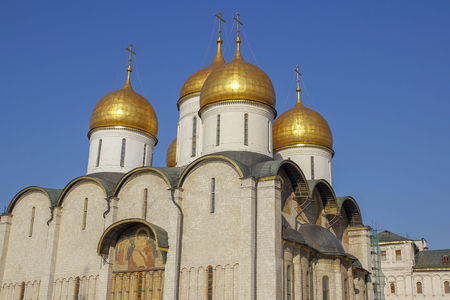 The golden cupolas of the Moscow Kremlin in Moscow ,Russia.