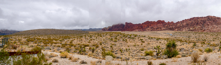 Panorama View landscape of red rock canyon national park in Foggy day at nevada,USA.