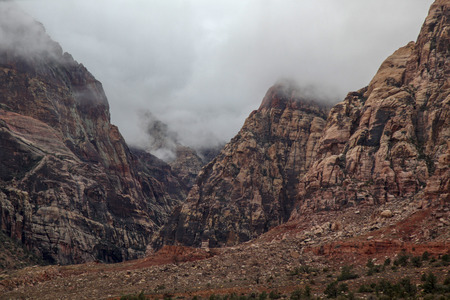 View landscape of red rock canyon national park in Foggy day at nevada,USA.