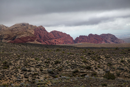 two color mountain at red rock canyon national park in Foggy day at nevada,USA.