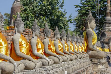 Buddha Status in Ancient old temple at  ayutthaya historical park area thailand