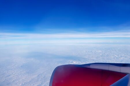 View skyscape from  aircraft window 스톡 콘텐츠