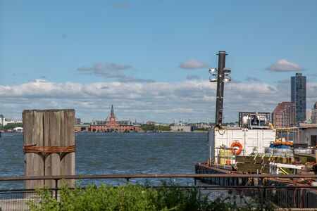 View of seascape from battery park boat station is beautiful blue sky Stock Photo