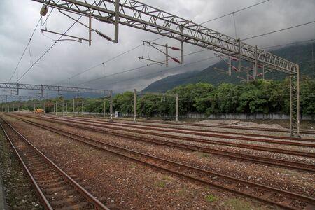 Xincheng,taiwan-October 16,2018 :Many train way in New xincheng Train station,taiwan. Stock fotó