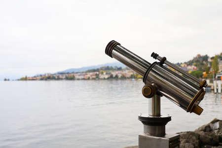 The tele camera near lake at swiss