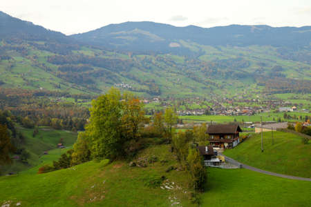 View of country village in nature and environment at swiss 写真素材