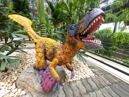Pattaya,Thailand-September 4,2020:The dinosaurs statue is beautiful in sky garden at Nong Nooch Tropical Botanical Garden 報道画像