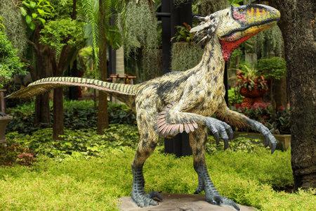 Pattaya,Thailand-September 4,2020:The dinosaurs statue is beautiful in Nong Nooch Tropical Botanical Garden