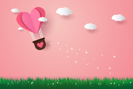 Valentines day , Illustration of love , Hot air balloons in a heart shape flying over grass, paper art style 向量圖像