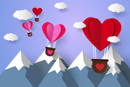 airship: Hot air balloons in a heart shape flying over mountain , paper art style