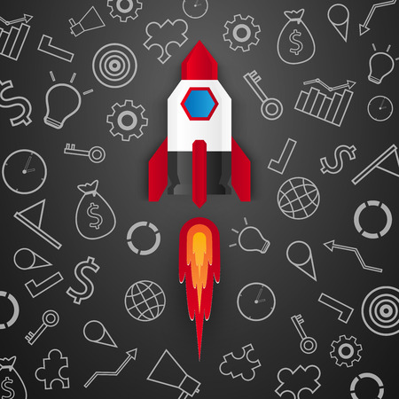 Start up concept , rocket launch , set of icons , paper art style