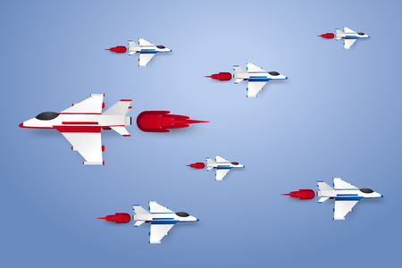 Different concept , Jet plane flying , paper art style