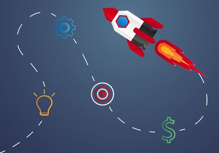 Start up concept , rocket launch , step by step