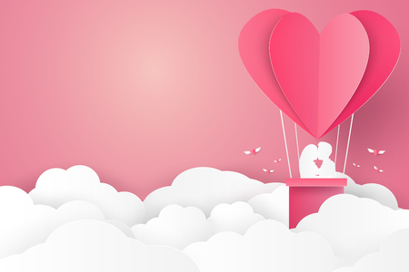 hot couple: Valentines day , Illustration of love , Couple kissing on hot air balloon in a heart shape , blank space , paper art style