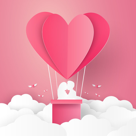 hot couple: Valentines day , Illustration of love , Couple kissing on hot air balloon in a heart shape , paper art style Illustration