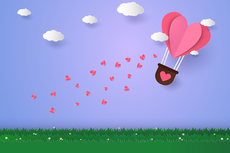 Hot air balloons in a heart shape flying over grass, paper art style 向量圖像