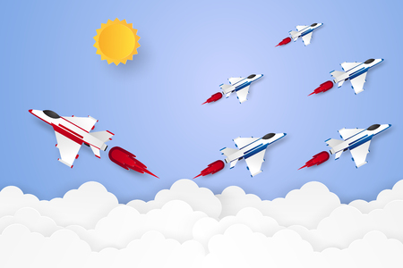 Different concept , Jet plane flying in the sky, paper art style