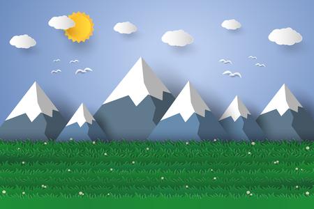nature landscape background , paper art style