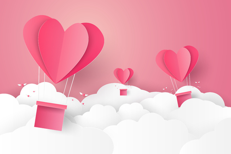 folded paper: Valentines day , Illustration of love , Hot air balloon in a heart shape flying on sky , paper art style Illustration