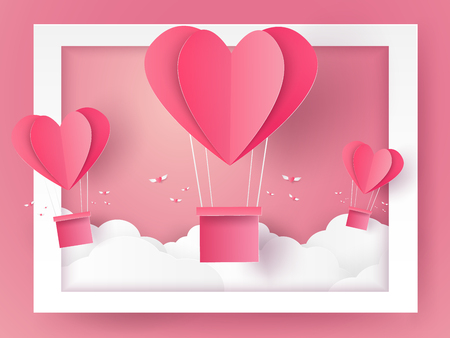 hot couple: Valentines day Illustration of love , Hot air balloons in a heart shape flying out of frame , paper art style