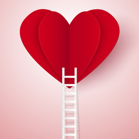 Love concept , ladder leading to a heart , paper art style