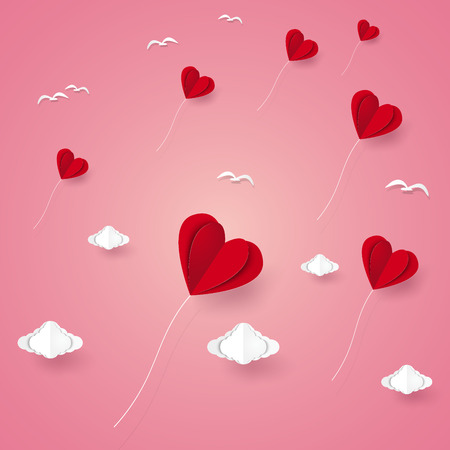Valentines day , Illustration of love , Heart balloons and birds flying above clouds , paper art style