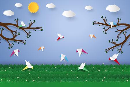 Flock of birds flying , paper art style