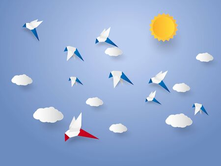 Different concept , Flock of birds flying in the sky, paper art style Illustration