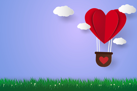 folded paper: Hot air balloon in a heart shape flying over grass and blank space , paper art style