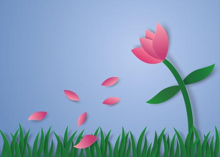 Flower petals flying , paper art style Illustration
