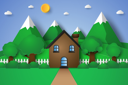 House with nature landscape , hill and mountain , paper art style Illustration