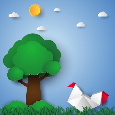 Chicken in the garden , paper art style Illustration