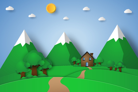 House on the hill with nature landscape , paper art style
