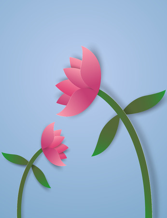 Wilted flowers , paper art style Illustration