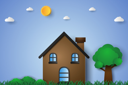House in green field with grass and tree , paper art style