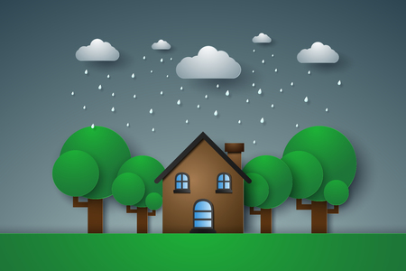 House in green field with rain , paper art style Illustration