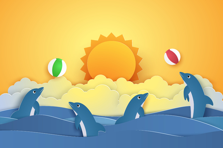 underwater fishes: Summer time , Dolphins playing with ball , paper art style