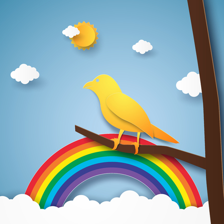 rainbow sky: Bird on branch with rainbow and cloud , paper art style