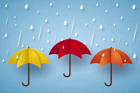 heavy rain: Colorful umbrella with rain , paper art style