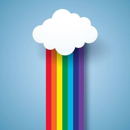 rainbow abstract: Rainbow and cloud , paper art style