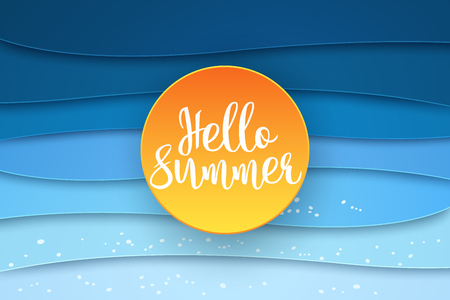 Hello summer , abstract sea background , paper art style