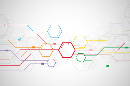 Abstract colorful hexagon background , Technology polygonal concept