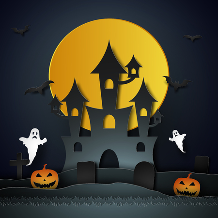 Halloween with castle , pumpkin , ghost and graveyard in the moon , paper art style Illustration