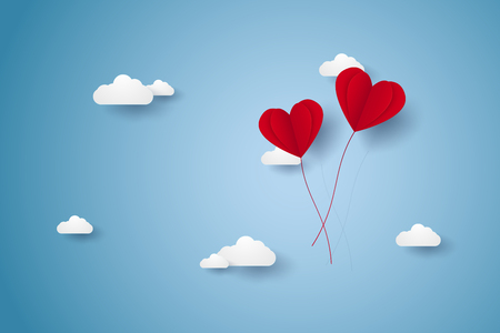 Valentines day , Illustration of love , red heart balloons flying on sky , paper art style