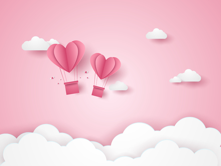 Valentines day, Illustration of love, pink heart hot air balloons flying in the pink sky, paper art style Illustration