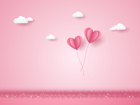 Valentines day , Illustration of love , pink heart balloons flying over grass , paper art style