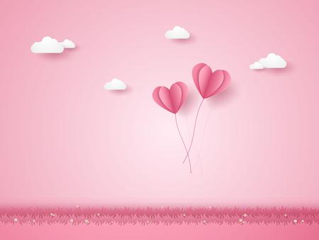 Valentijnsdag, illustratie van liefde, roze hart ballonnen vliegen over gras, papier kunststijl