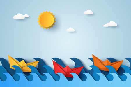 Blue waves in ocean with boat sailing  , paper art style