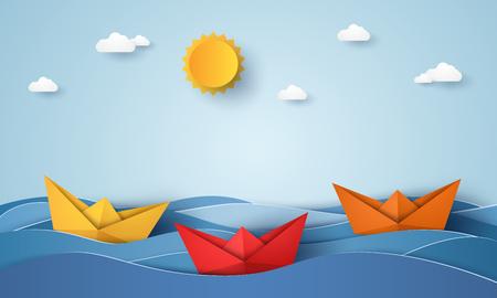 Origami bateau naviguant dans l & # 39 ; océan bleu , style de papier art Banque d'images - 96015683