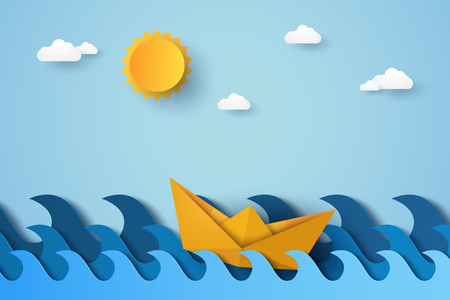 Blue wave in ocean with boat sailing , paper art style Illustration